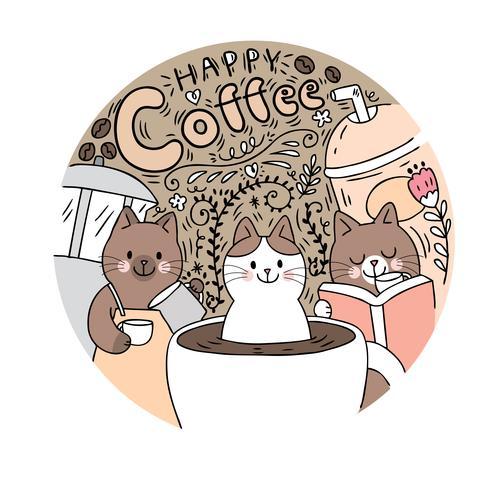 Cartoon süße Katze und Kaffee Vektor. Doodle Kreisrahmen.