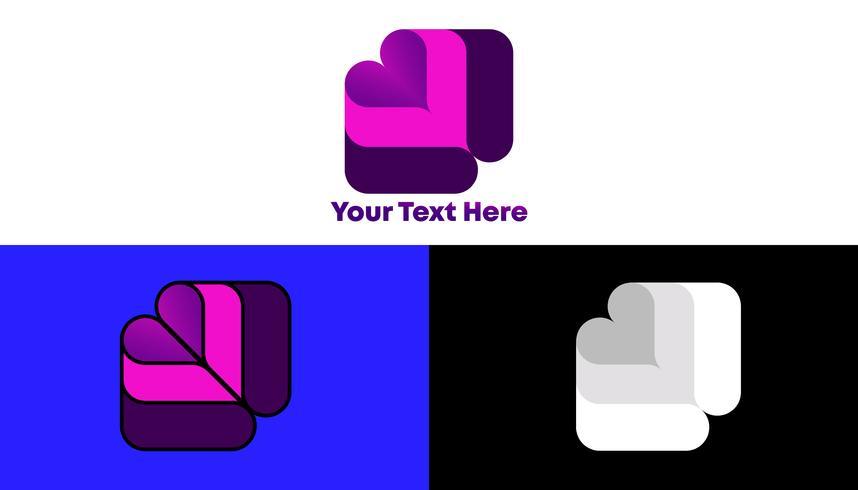 modernt unikt gradient kvadratlogo koncept