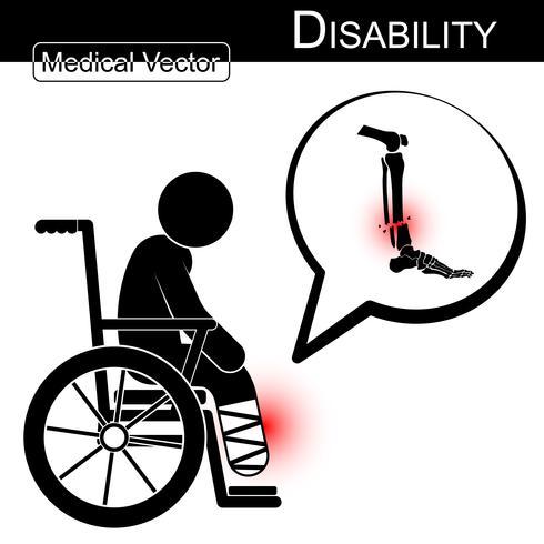 Vector L'uomo del bastone con la frattura della gamba sulla bolla del testo e della sedia a rotelle. Disabilità, concetto di terapia fisica. Design piatto . Frattura Tibia e Fibula.