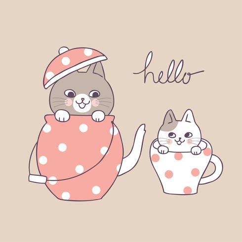 Cartoon cute cats and tea pot and cup vector.