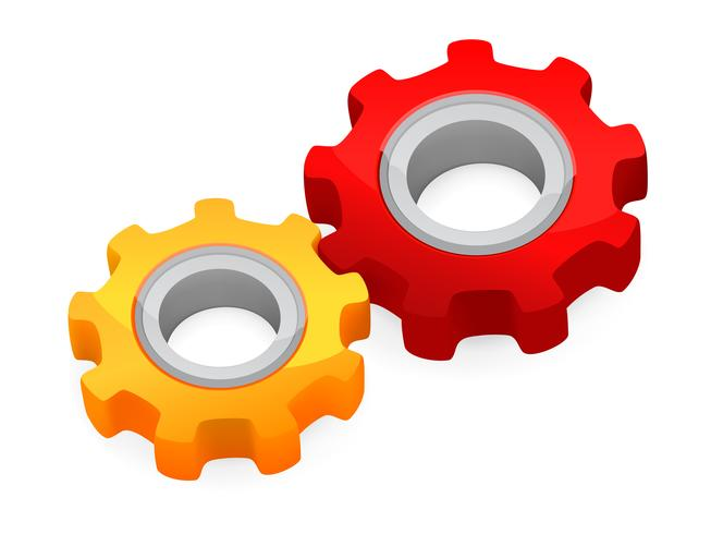 Teamwork koncept - anslutna pinions