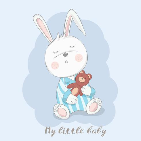 cute baby rabbit with doll cartoon hand drawn style.vector illustration