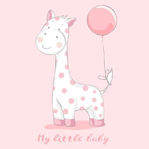 giraffa sveglia del bambino con stile disegnato a mano del fumetto dell'aerostato Illustrazione di vettore