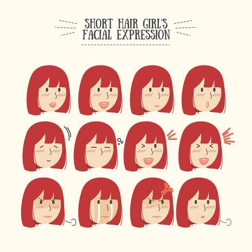 Lindo pelo corto rojo de Kawaii con varios juegos de expresión facial vector