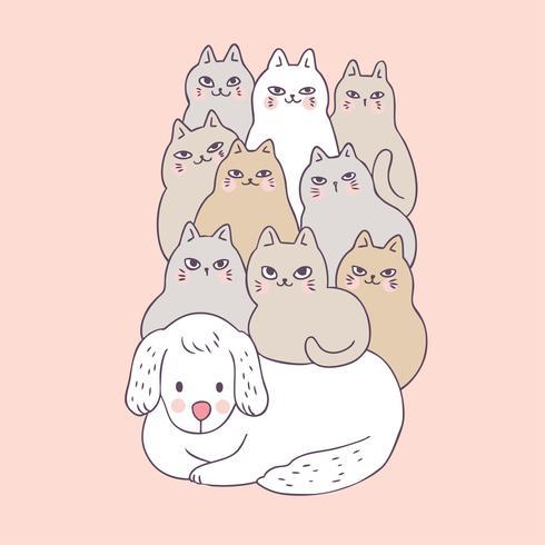 Cartoon cute dog and cats vector.