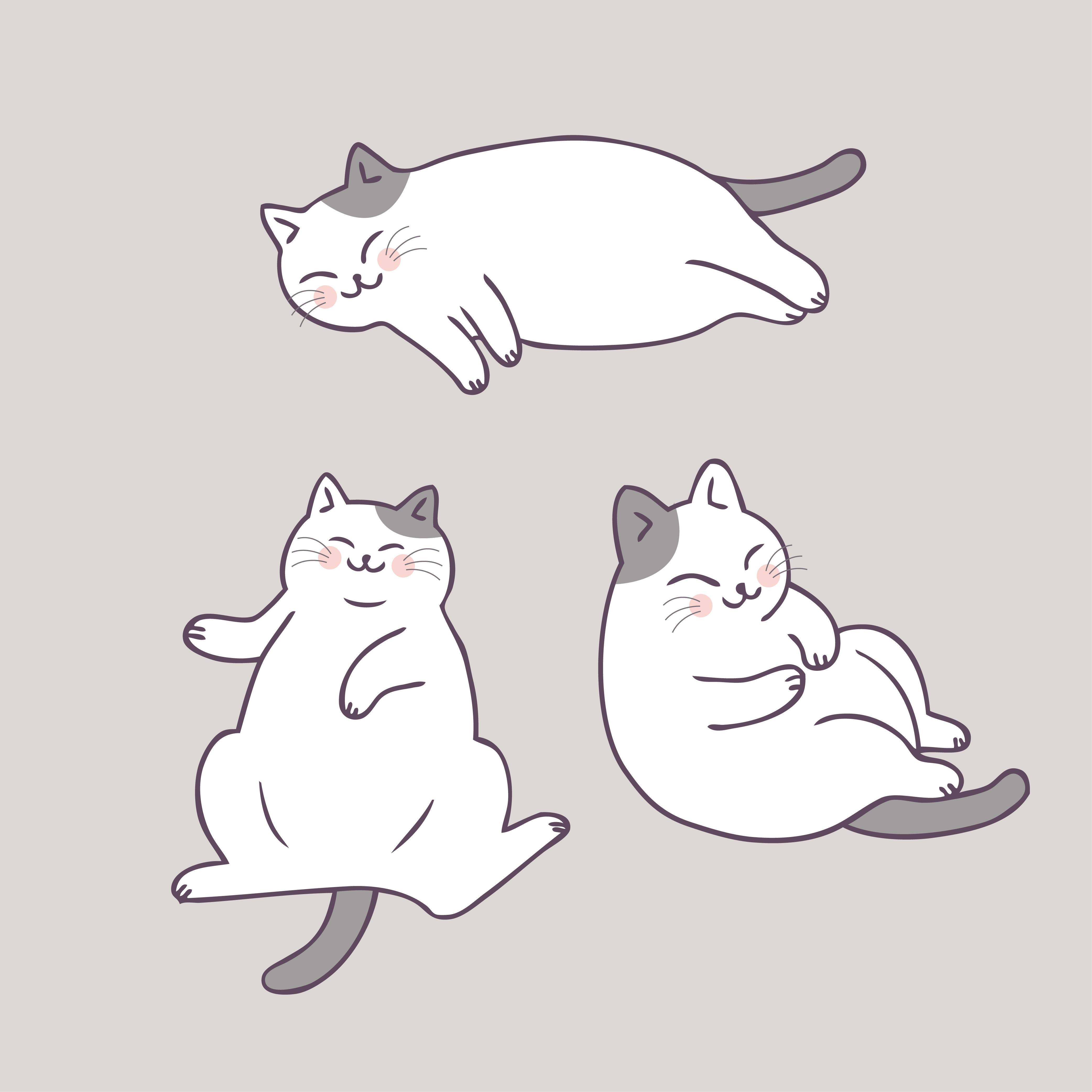 Cartoon cute cat sleeping vector. - Download Free Vectors ...