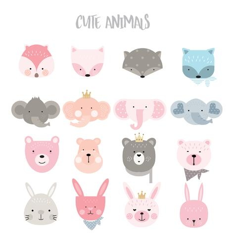 cute animals with vintage color cartoon hand drawn style.vector illustration
