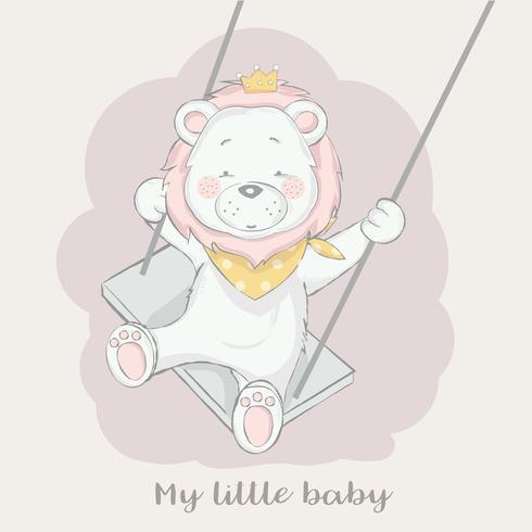 cute baby lion play swing cartoon hand drawn style.vector illustration