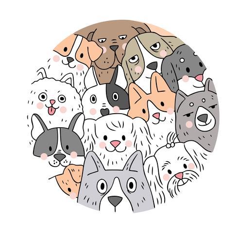 Cartoon cute face dogs vector. Doodle circle frame. vector