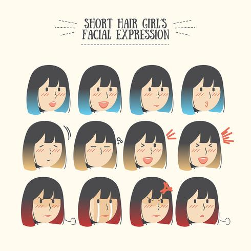 Linda chica de pelo corto de Kawaii Ombre con varios emoticonos de expresión facial