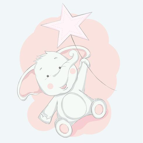 cute baby elephant with star cartoon hand drawn style.vector illustration