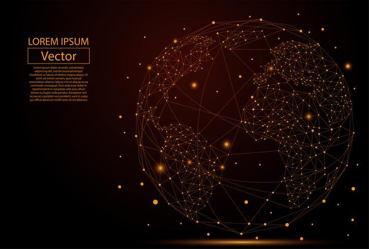 Immagine astratta di un pianeta Terra costituito da punti, linee e forme. Connessione di rete globale. Concetto della mappa del punto e della linea di mappa del mondo degli affari globali. Illustrazione vettoriale