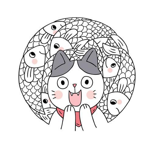 Vector lindo del gato y de los pescados de la historieta. Doodle marco del círculo.