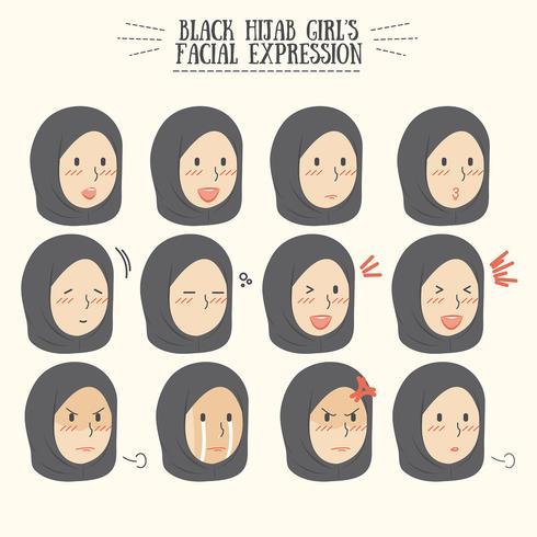 Cute Kawaii Black Hijab Girl with Various Facial Expression Set vector