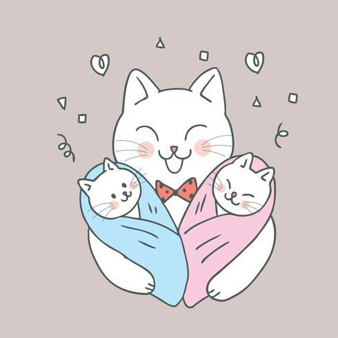 Vettore sveglio del papà e dei bambini del gatto del fumetto.