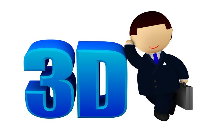 Cheerful businessman with a 3D sign