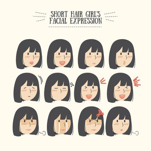 Conjunto de expresión facial de la linda niña de cabello negro Kawaii