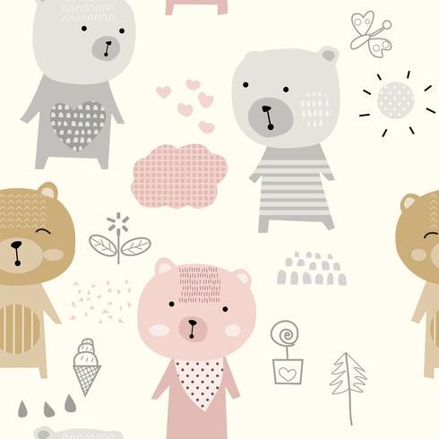 dessin animé mignon bébé ours - modèle sans couture vecteur