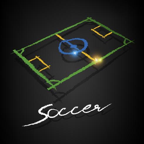 soccer pitch drawing on a blackboard