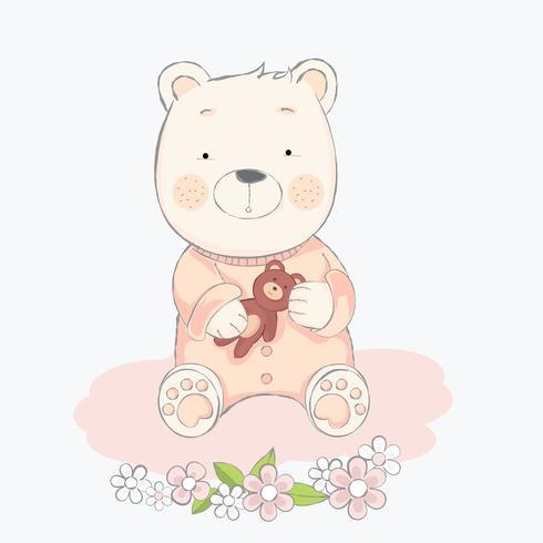 joli bébé ours avec illustration de style.vector dessiné à la main de poupée