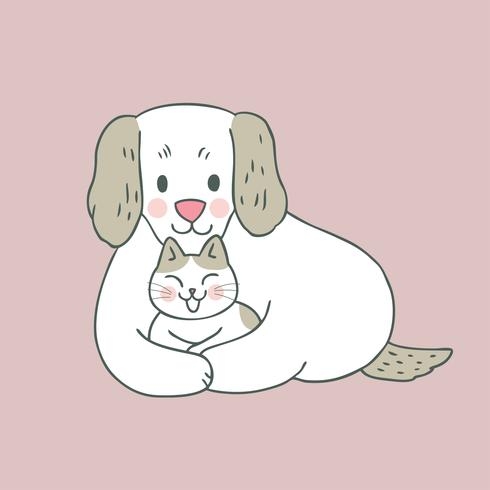 Vector dulce lindo del gato y del perro de la historieta.