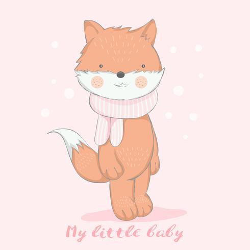 söt älskling räv med snö tecknad film handgjorda style.vector illustration