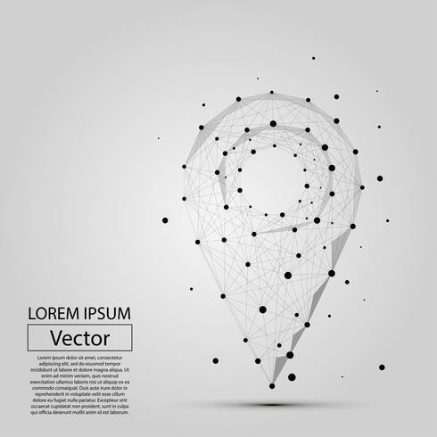 Línea poligonal abstracta y punto pin sobre fondo blanco sobre el mapa. Ilustración de vector negocio puré.