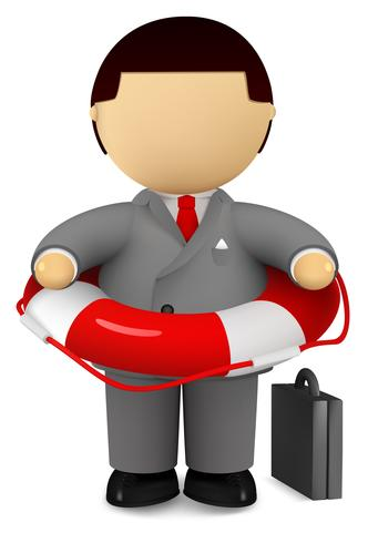 Businessman holding life buoy - safety and rescue concept