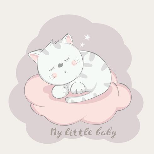 schattige baby kat cartoon hand getrokken style.vector illustratie