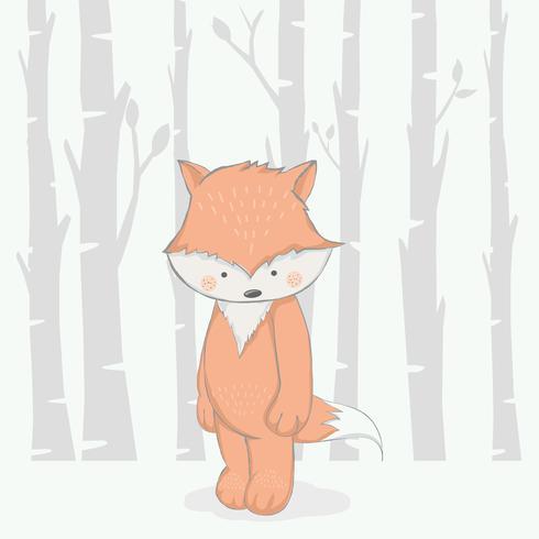 raposa bebê fofo com desenhos animados de floresta mão desenhada style.vector ilustração