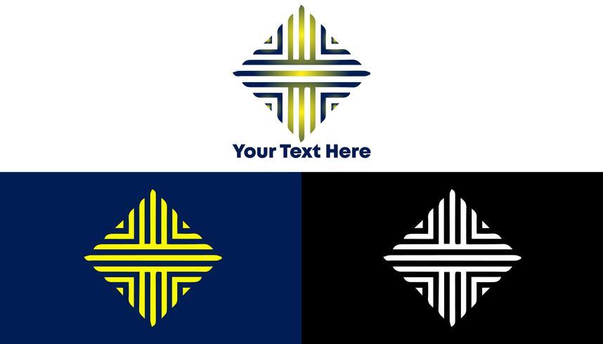 Concepto de logotipo de patrón cuadrado de lujo