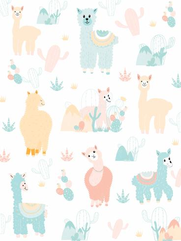 Llama and Cactus Clipart Bundle, No Drama Llamas Graphics Set.
