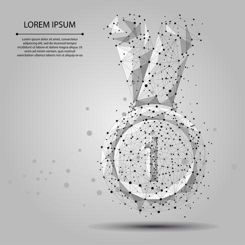 Ligne de mash abstraite et médaille de point pour le gagnant de la première place. Illustration de vecteur d'entreprise Polygonale basse poly