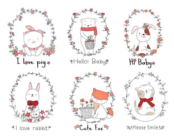 Cute baby animals with flower frame cartoon hand drawn style