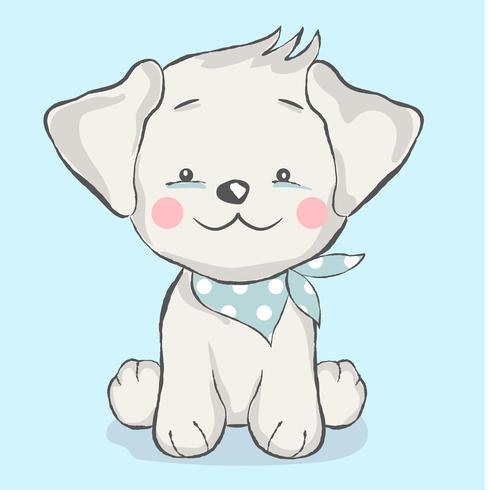 cute baby dog cartoon style vector
