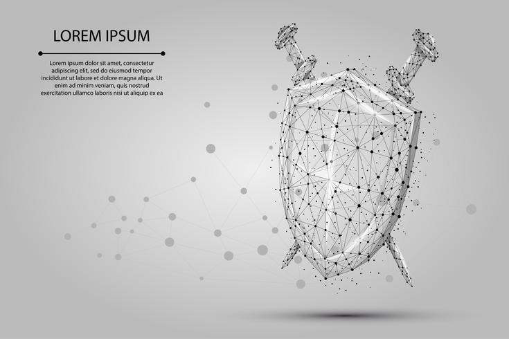 Abstrakt polygonal Sköld och svärd. Låg poly wireframe vektor illustration. Skydda och säkra digital koncept mash linje och punkt.