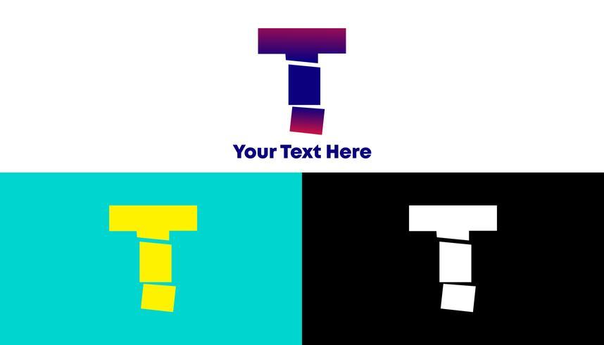 T Concept de logo dégradé slash moderne