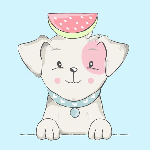söt barnhund med vattenmelontecknad film