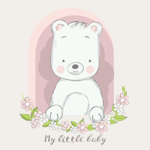 cute baby bear with flower cartoon hand drawn style.vector illustration