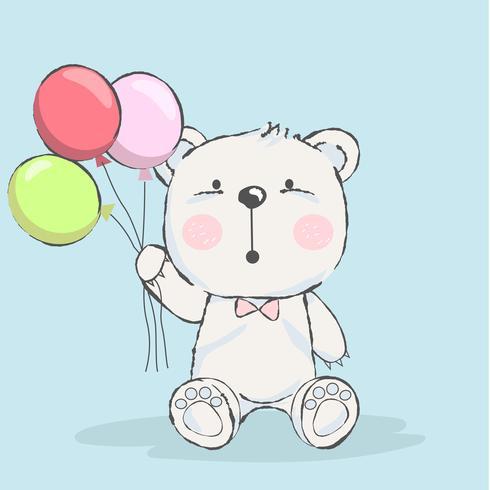 Urso Bebe Fofo Com Desenhos Animados De Balao Download Vetores