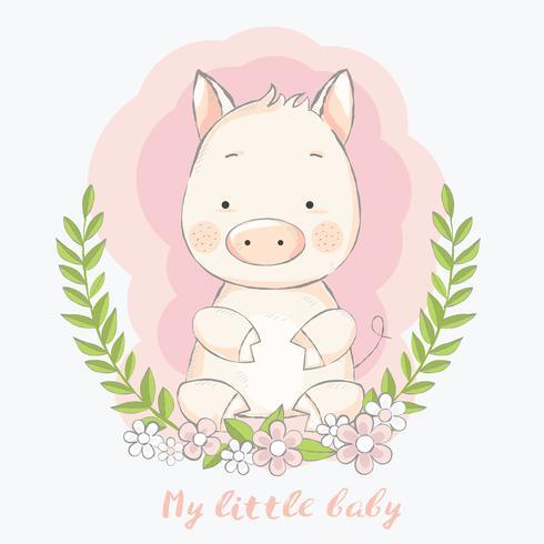 schattig baby varken met bloem grens cartoon hand getrokken stijl