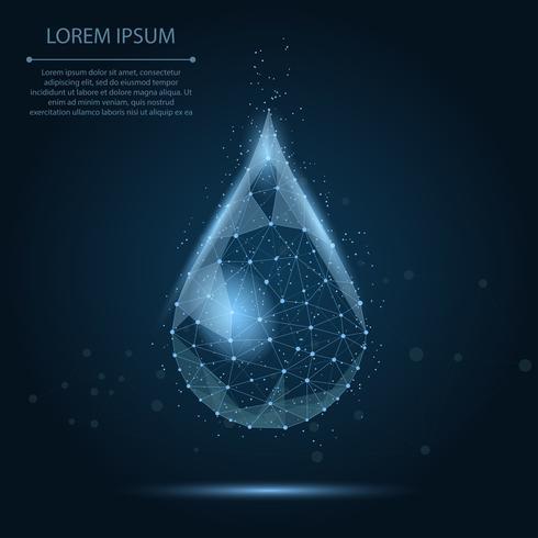 Låg poly wireframe vattenfall med prickar och stjärnor. Färsk aqua eller flytande, ekologisk natur vektor illustration