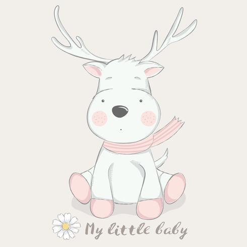 cute baby deer cartoon hand drawn style.vector illustration