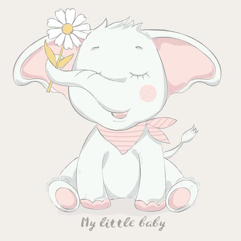 cute baby elephant with flower cartoon style
