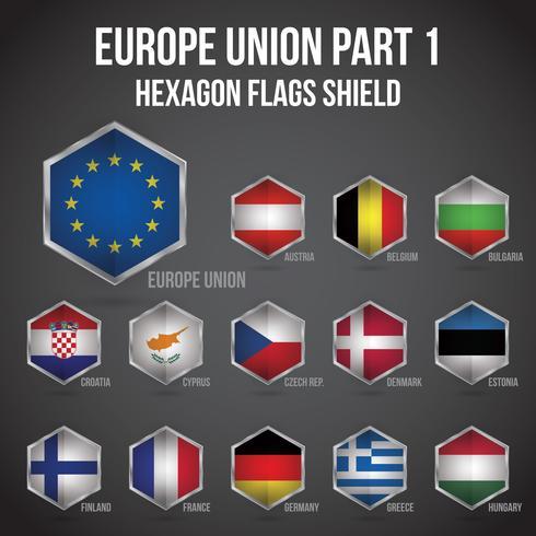 Europe Union Hexagon Flags Shield Part 1