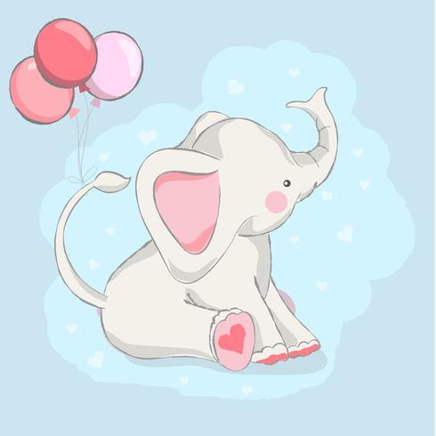 cute baby elephant with balloon cartoon hand drawn style