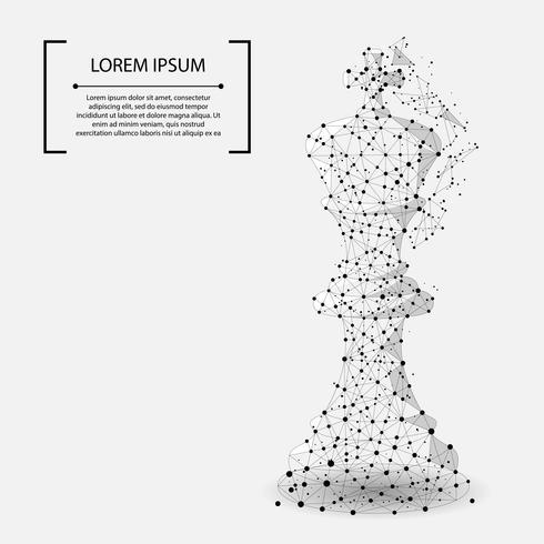 Linea di mash astratta e punto re degli scacchi. Illustrazione vettoriale di affari Poligonale low poly.