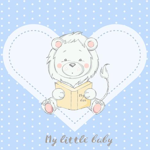 cute baby lion with book cartoon hand drawn style
