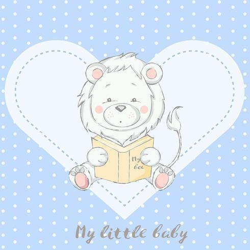 süßes Baby Löwe mit Buch Cartoon hand gezeichneten Stil