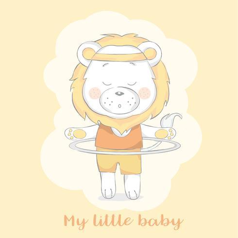 gezeichnete Art der netten Babylöwe-Karikatur Hand